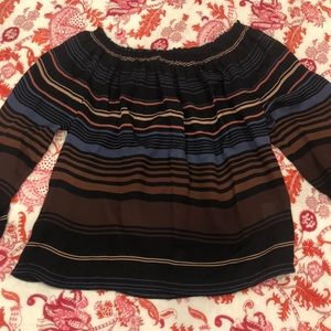 Vince off the shoulder striped blouse